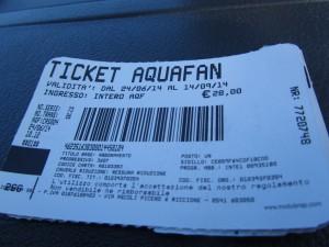 так выглядят входные билеты в аквапарк Aquafan в Римини, Эмилья-Романия, Италия.