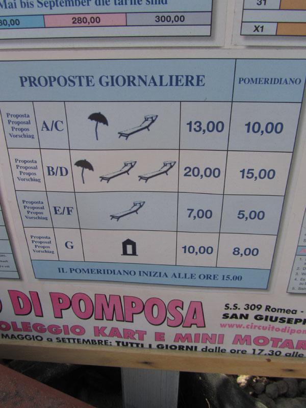 Цены на платный пляж в Лидо делле Национи, Эмилия-Романья, Италия.
