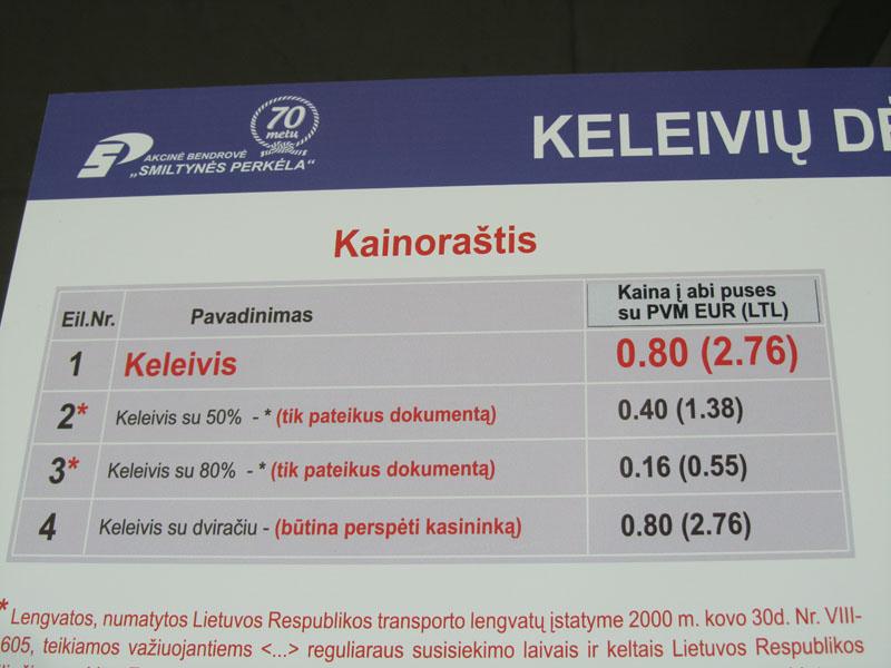 Цены на паром в Клайпеде на Куршскую косу