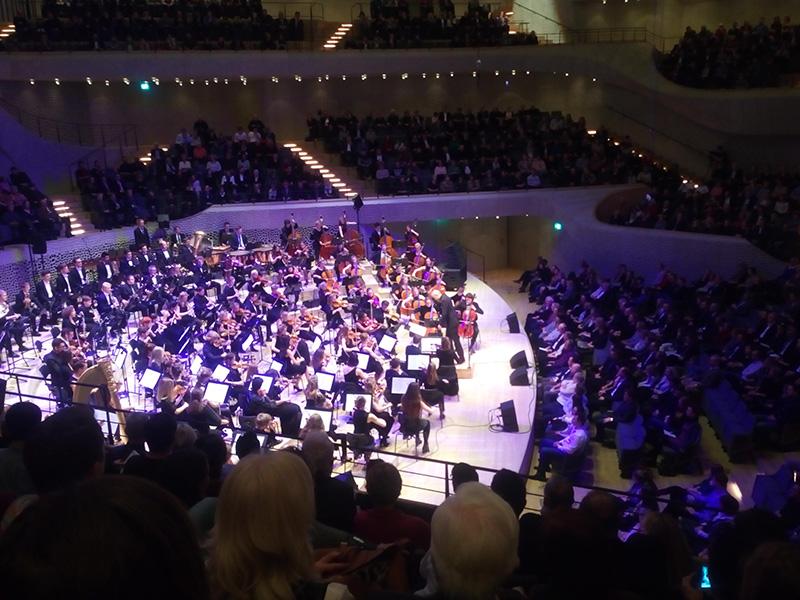 Оркестр в зале Elbphilharmonie