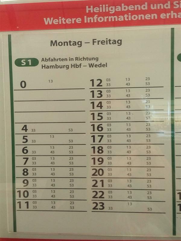 Расписание поездов в будни - ездят каждые 20 минут
